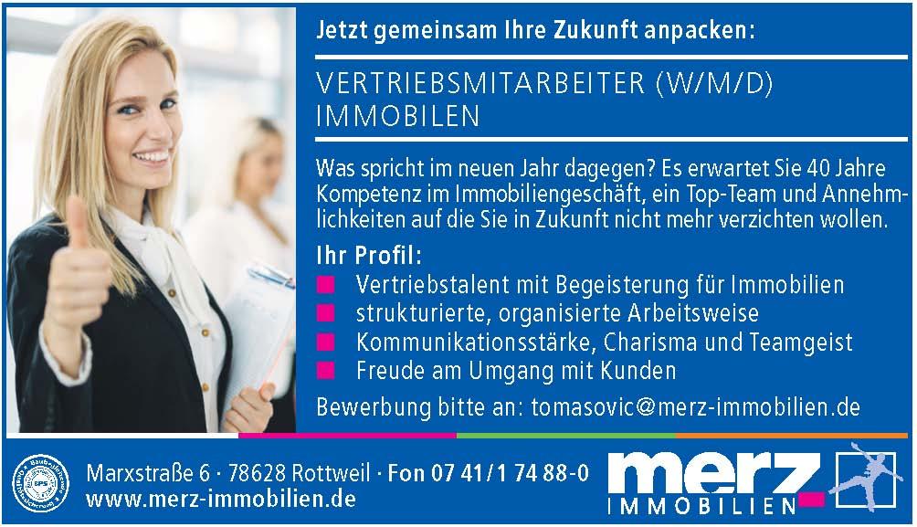 Merz Immobilien Rottweil Stellenanzeige fuer Vertriebsmitarbeiter 2020
